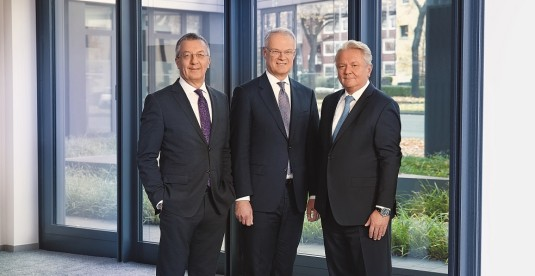 Executive Board of Rheinmetall AG: Helmut P. Merch, Peter Sebastian Krause, Armin Papperger, Jörg Grotendorst (from left to right)
