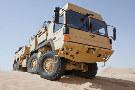 Like all RMMV trucks, the SX 45 is modified for use in hot, sandy environments.